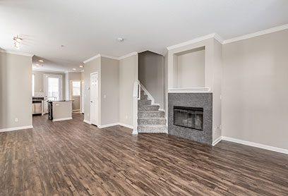 Bell Bradburn apartments living room with fireplace